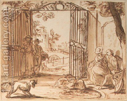 A dog barking at a swan with cygnets, in a pond, figures by a park gate looking on by Dutch School - Reproduction Oil Painting