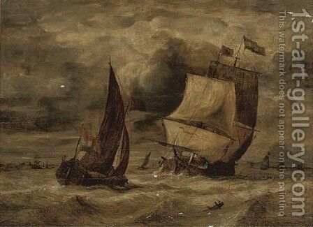 A Dutch man-of-war and other shipping in a stormy sea by Dutch School - Reproduction Oil Painting