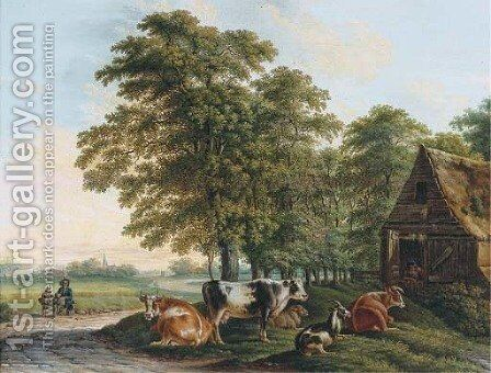 A landscape with cows in a farmyard and two travellers resting by the side of a road by Dutch School - Reproduction Oil Painting