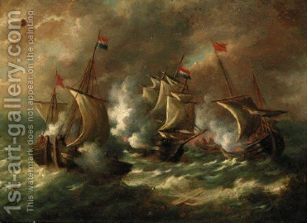 A naval engagement by Dutch School - Reproduction Oil Painting