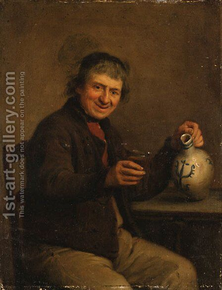 A seated Peasant drinking in an Interior by Dutch School - Reproduction Oil Painting