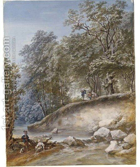 A stream through a wood with travellers by a ford by Dutch School - Reproduction Oil Painting
