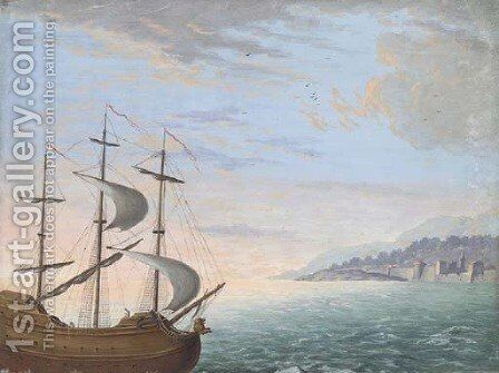 A three-masted ship sailing near the coast by Dutch School - Reproduction Oil Painting