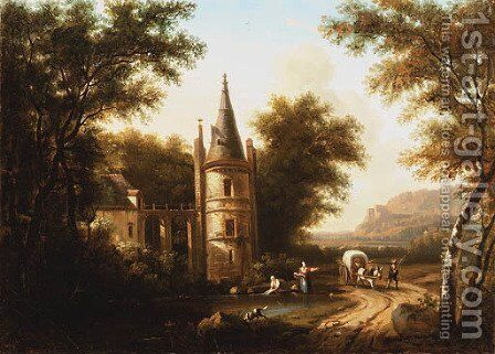 A wooded river Landscape with a horse-drawn Wagon on a Path, and Washerwomen on the Shore by a turreted Villa by Dutch School - Reproduction Oil Painting