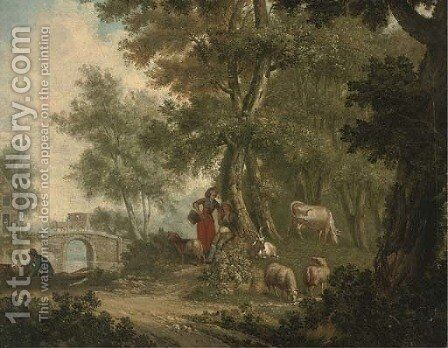A wooded river landscape with a shepherd and shepherdess resting under a tree with their flock by Dutch School - Reproduction Oil Painting