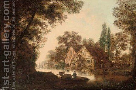 A wooded river landscape with figures on a boat, cottages beyond by Dutch School - Reproduction Oil Painting