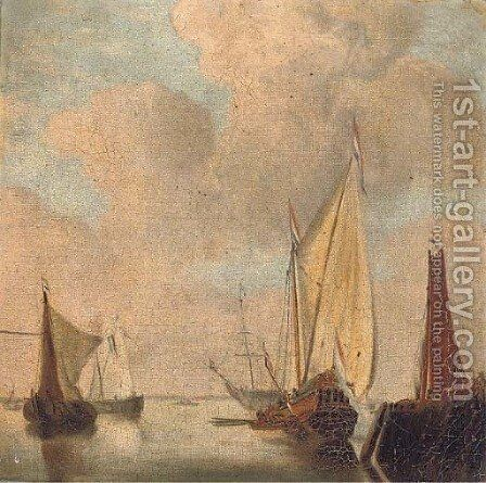 A yacht of the States General in the estuary by Dutch School - Reproduction Oil Painting