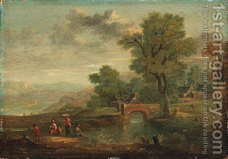 A Village and Villagers by a River by Dutch School - Reproduction Oil Painting