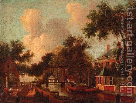 Figures by a canal, a house beyond by Dutch School - Reproduction Oil Painting