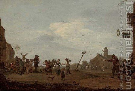 Figures dancing in a village square by Dutch School - Reproduction Oil Painting