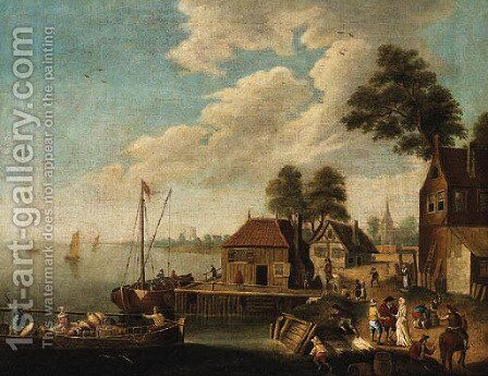 Figures on a Quayside in a River Estuary by Dutch School - Reproduction Oil Painting