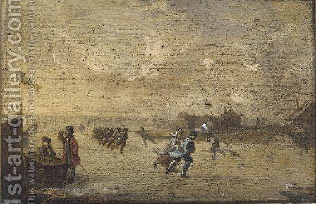 Figures skating on a frozen river before a bridge by Dutch School - Reproduction Oil Painting