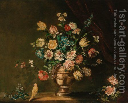 Parrot tulips, carnations and other flowers in a pewter urn with a dove, on a stone ledge by Dutch School - Reproduction Oil Painting