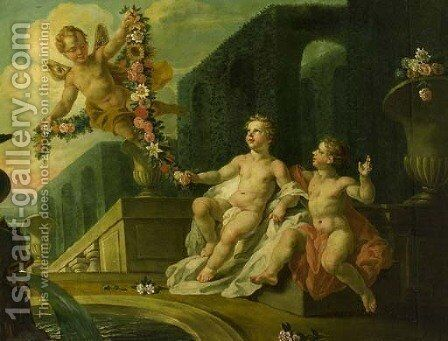 Putti desporting by a fountain in a classical garden by Dutch School - Reproduction Oil Painting