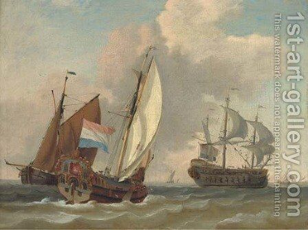 A Dutch Admiralty yacht running out to meet the flagship arriving at her anchorage by Dutch School - Reproduction Oil Painting