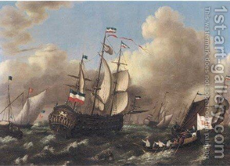 The Dutch fleet running out to sea by Dutch School - Reproduction Oil Painting