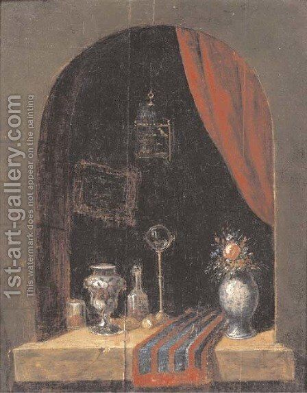 A casement with a bird cage, a vase of flowers, a mirror, an urn and other objects by Dutch School - Reproduction Oil Painting
