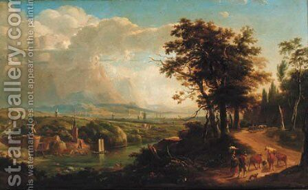A drover with cattle on wooded track in a capriccio landscape by Dutch School - Reproduction Oil Painting