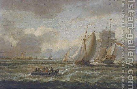 A Dutch Admiralty yacht amidst barges off a low countries watch-tower by Dutch School - Reproduction Oil Painting