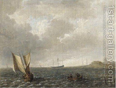A Dutch smalschip under goose-wing rig off the Dutch coast by Dutch School - Reproduction Oil Painting