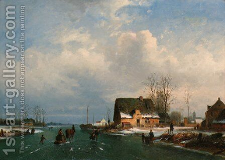A Dutch winter landscape with figures skating by Dutch School - Reproduction Oil Painting