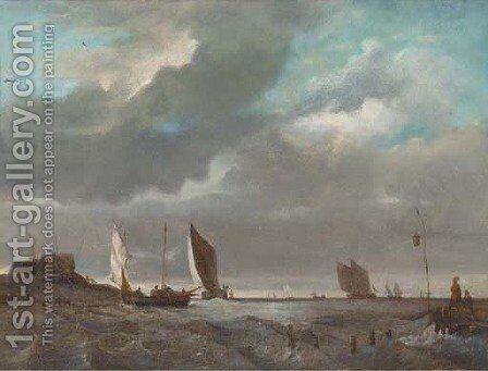 A fishing fleet in coastal waters by Dutch School - Reproduction Oil Painting
