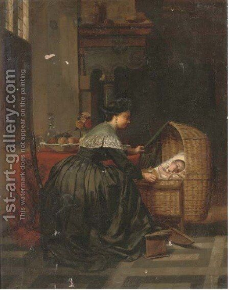 A gentle slumber by Dutch School - Reproduction Oil Painting