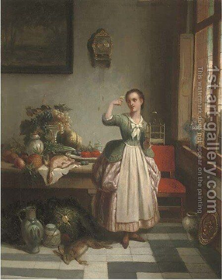 A girl in a pantry, holding a bird on her right hand by Dutch School - Reproduction Oil Painting