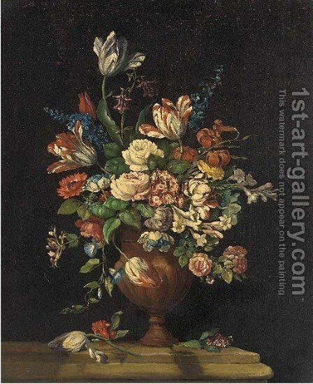 A still life of tulips, roses, freesias, honeysuckle, lilac and other summer flowers in an urn on a ledge by Dutch School - Reproduction Oil Painting