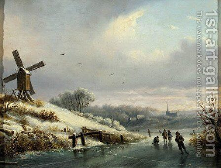 A winter landschape with skaters on a frozen waterway by Dutch School - Reproduction Oil Painting