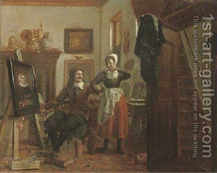 Amorous in the atelier by Dutch School - Reproduction Oil Painting