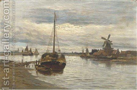Barges on a lowland estuary by Dutch School - Reproduction Oil Painting