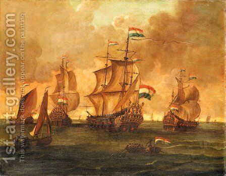 Dutch Men-of-War and other Ships in Calm Seas by Dutch School - Reproduction Oil Painting