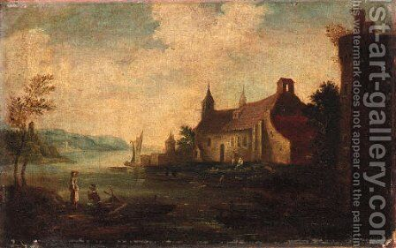 Peasants by a Church beside a River by Dutch School - Reproduction Oil Painting