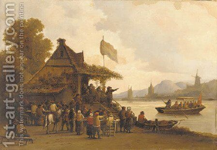 Feasting by the river by Dutch School - Reproduction Oil Painting