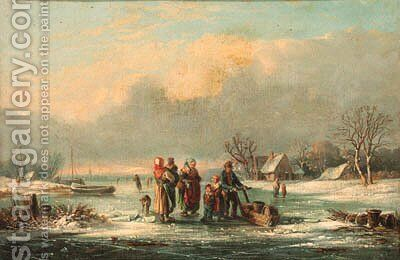 Figures in a frozen winter landscape by Dutch School - Reproduction Oil Painting