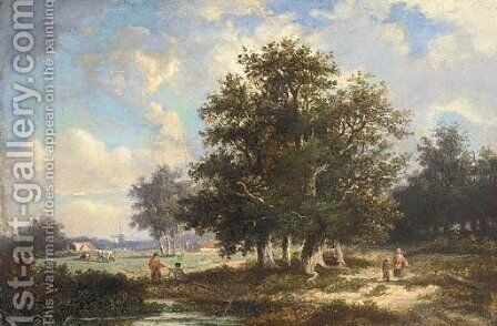 Figures in a wooded landscape with cattle grazing, a windmill beyond by Dutch School - Reproduction Oil Painting