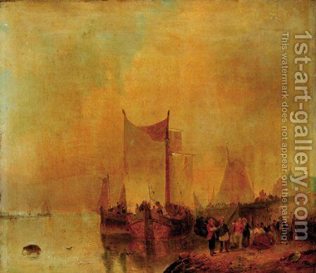 Figures on a quay by Dutch School - Reproduction Oil Painting