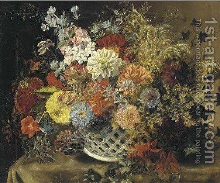 Flowers in a porcelain basket by Dutch School - Reproduction Oil Painting