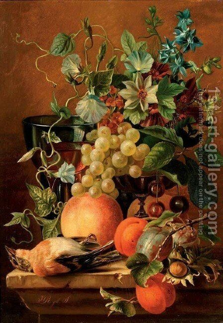 Fruits and flowers on a ledge by Dutch School - Reproduction Oil Painting