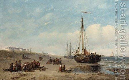 Gossiping on the sands at Scheveningen by Dutch School - Reproduction Oil Painting