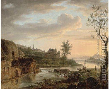Herdsmen fording a river at a mill by Dutch School - Reproduction Oil Painting