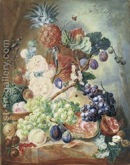 Hollyhocks by Dutch School - Reproduction Oil Painting