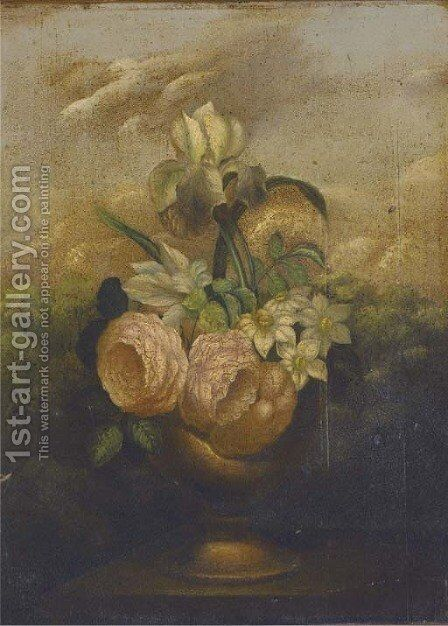 Irises, roses and narcissae in an urn on a garden plinth; and Another similar by Dutch School - Reproduction Oil Painting