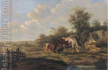 Milking cows in a landscape, with a town beyond by Dutch School - Reproduction Oil Painting