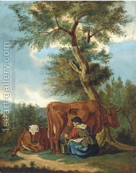 Milking the cow by Dutch School - Reproduction Oil Painting