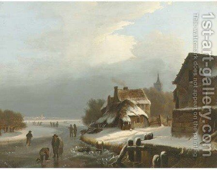 On the ice by a Dutch village by Dutch School - Reproduction Oil Painting