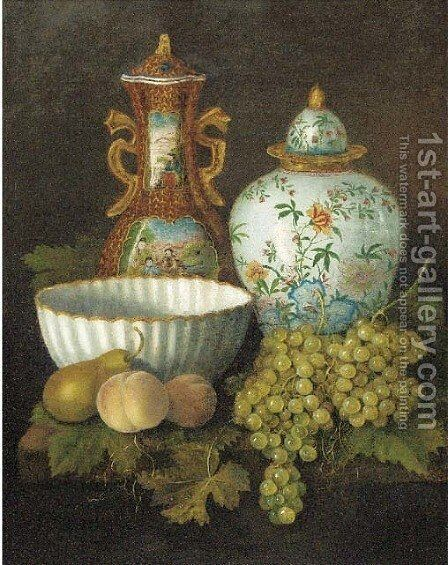 Peaches, grapes, a pear, a porcelain bowl and oriental vases on a plinth by Dutch School - Reproduction Oil Painting