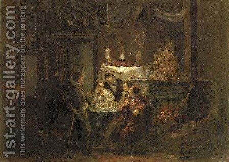 Playing chess by lamplight by Dutch School - Reproduction Oil Painting
