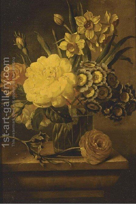 Roses, narcissae and auriculas in a vase on a plinth by Dutch School - Reproduction Oil Painting
